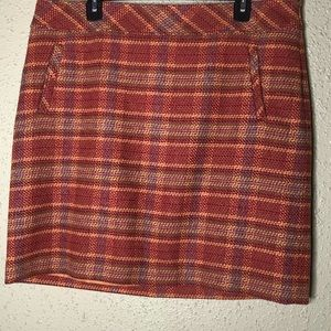 Talbots Red Multi Color Wool Skirt 14P